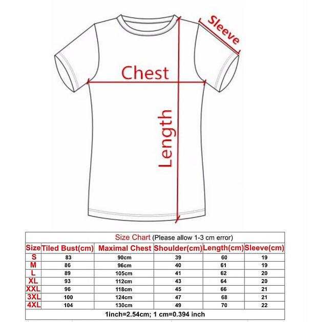 compression shirt size chart